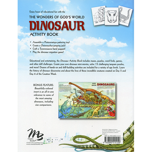 The Wonders of God's World Dinosaur Activity Book Back