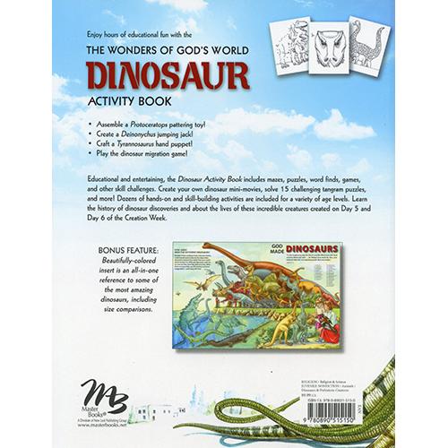 The Wonders of God's World Dinosaur Activity Book Back