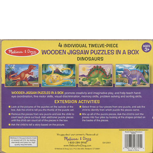 4 Puzzles in a Box - Dinosaurs back