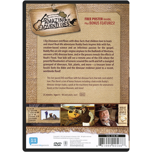 Buddy Davis' Amazing Adventures: I Dig Dinosaurs! DVD back