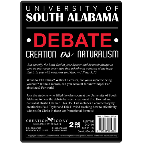 University of South Alabama Debate Creation vs Naturalism (Video Download)