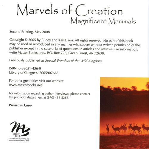 Marvels of Creation: Magnificent Mammals