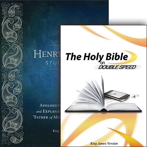 Henry Morris Study Bible (Leather) and The Holy Bible on Double Speed