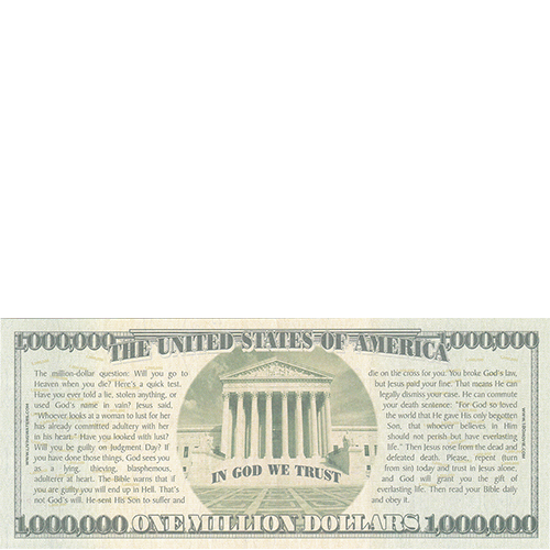 Halloween Million Dollar Bill Tract Back