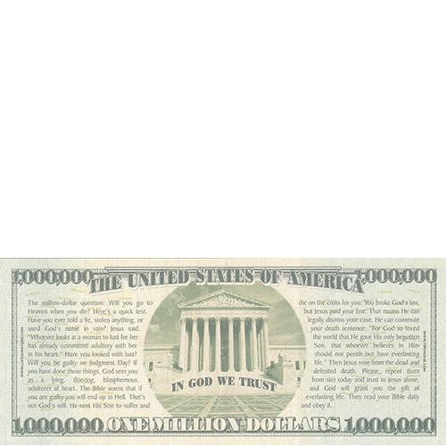 Halloween Million Dollar Bill Tract Back