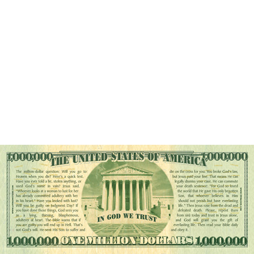 Christmas Million Dollar Bill Tract back