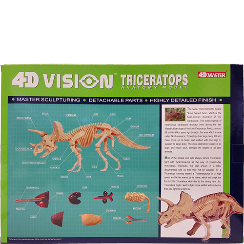 4D Vision Triceratops Anatomy Model back