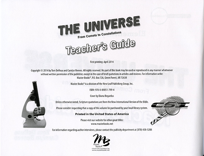 The Universe: From Comets to Constellations Teacher's Guide read inside