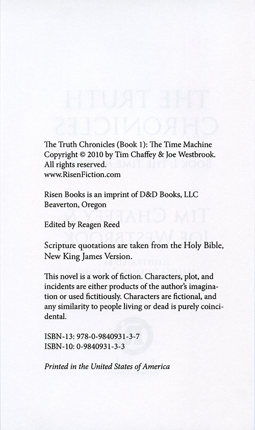 The Truth Chronicles Book 1: The Time Machine read inside