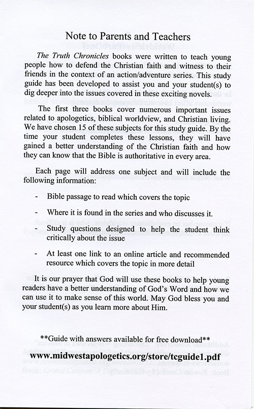 The Truth Chronicles: Defending the Faith Study Guide read inside