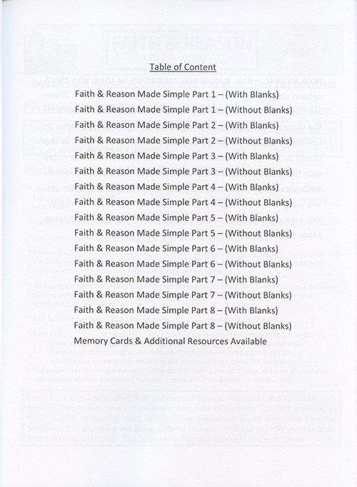 Faith & Reason Made Simple Student Guide inside
